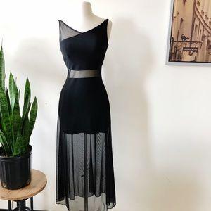 Vintage 90s Tadashi Shoji black mesh maxi dress